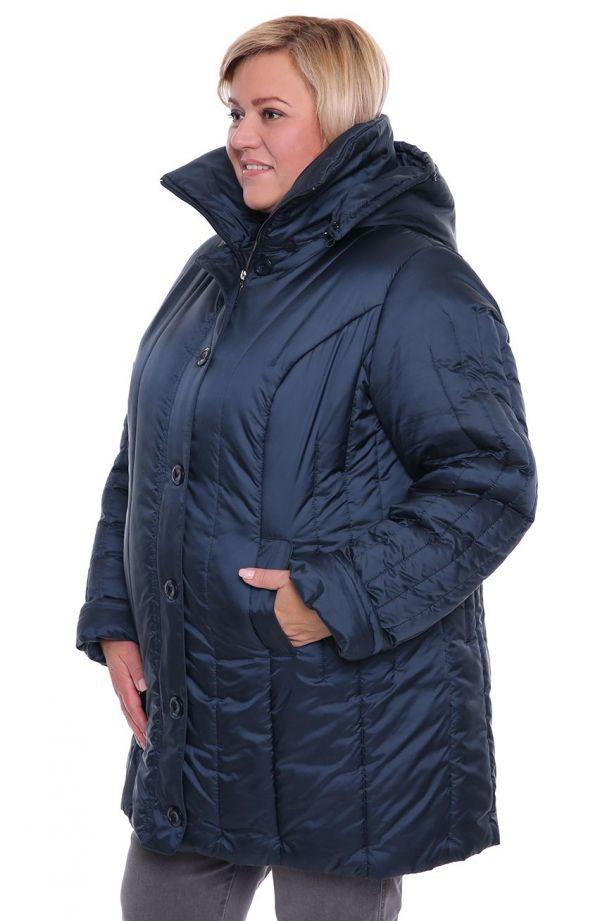 Granatowy ocieplany płaszcz