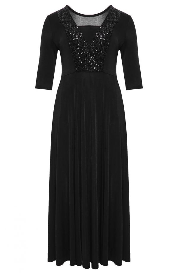 Czarna suknia maxi z cekinami