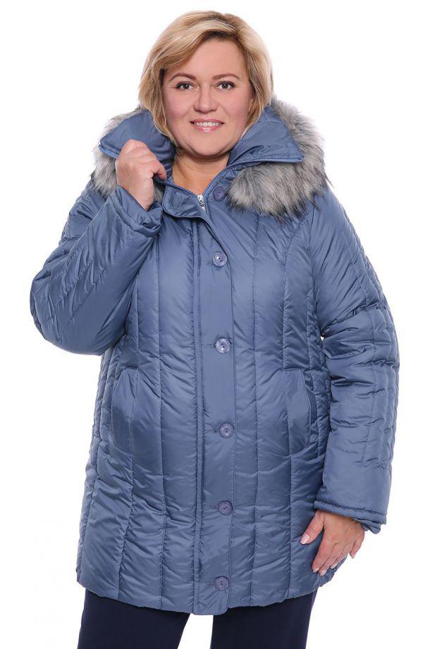 Ciepła zimowa kurtka w niebieskim kolorze