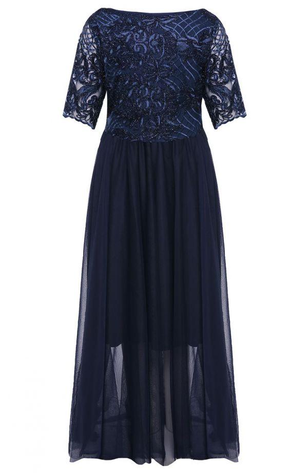Elegancka granatowa suknia z tiulem