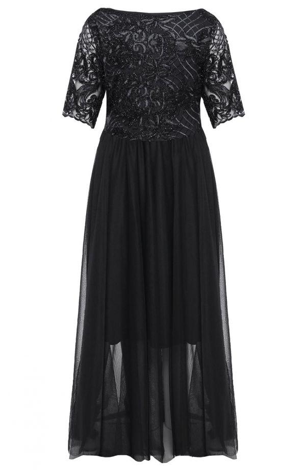 Elegancka czarna suknia z tiulem
