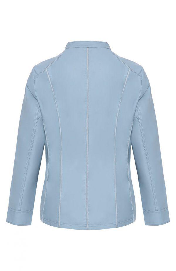 Błękitna kurtka z ekoskóry siateczkowe wstawki