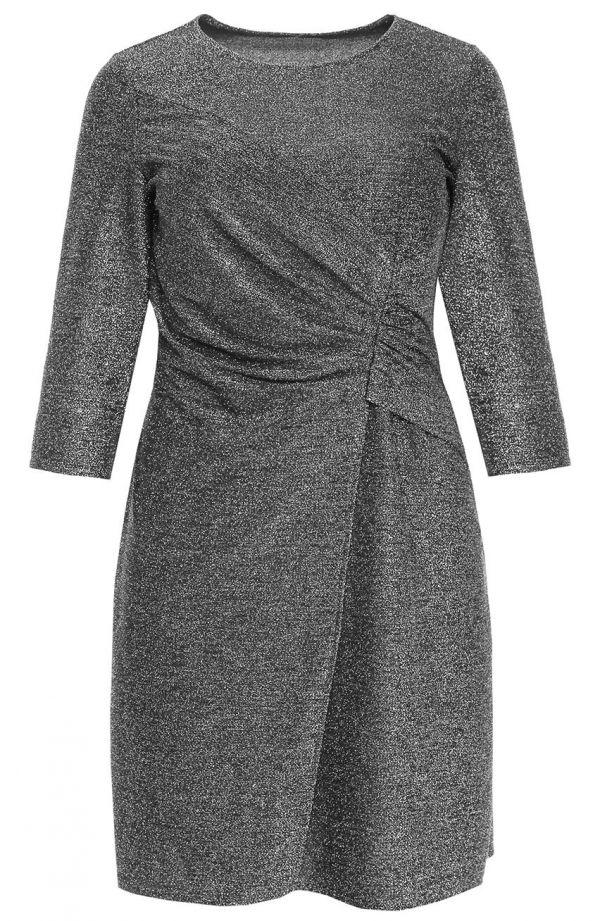 Srebrna brokatowa sukienka z marszczeniem