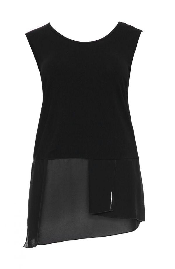 Dwuczęściowa gładka tunika w kolorze czarnym