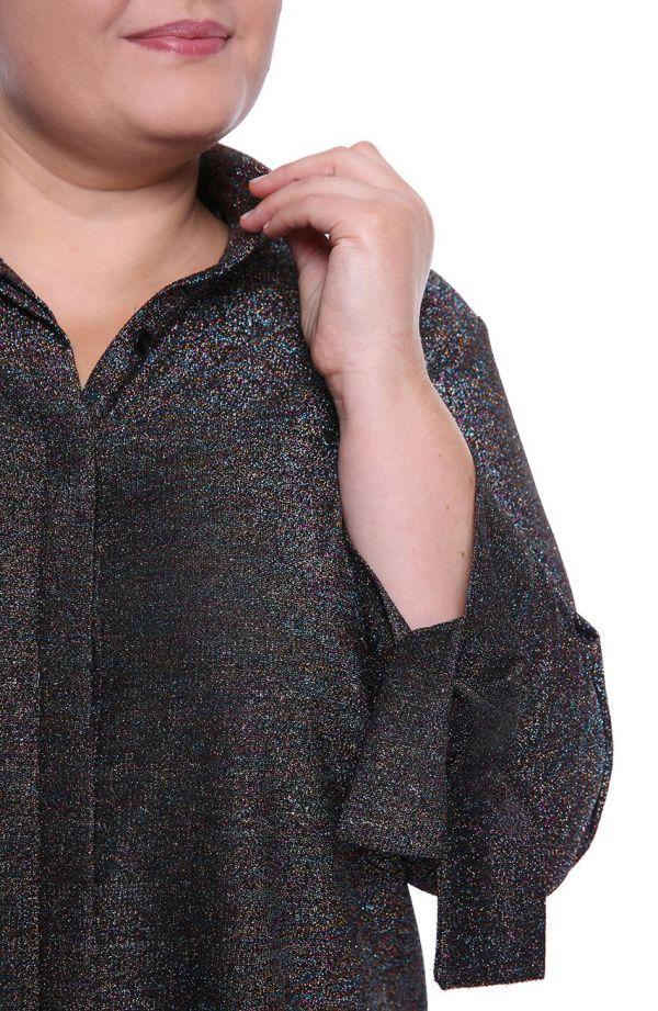 Czarna koszula z połyskującą nitką
