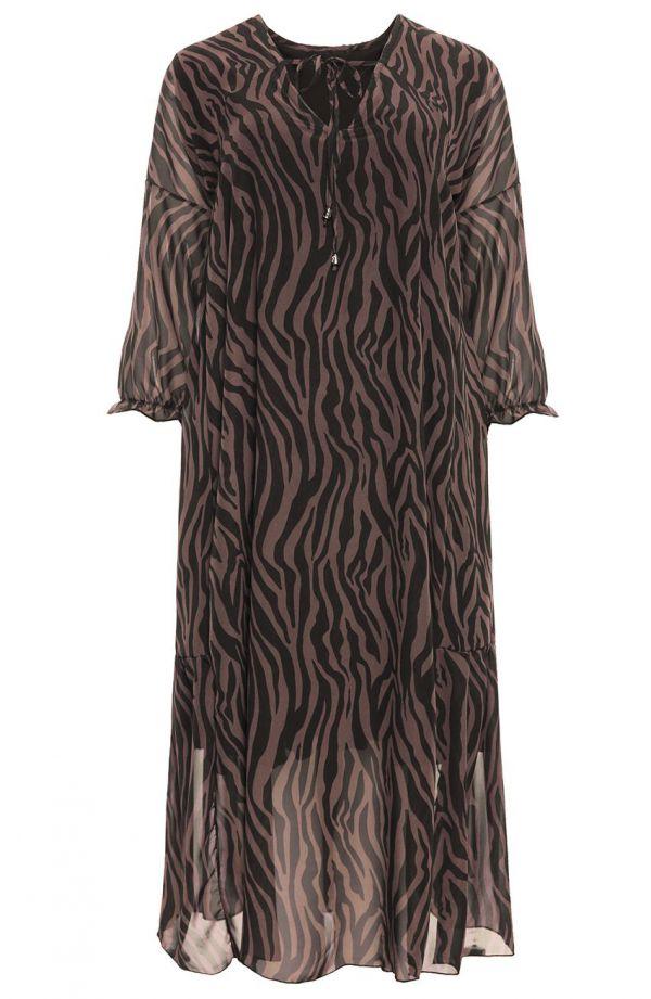Brązowa sukienka z motywem w zebrę