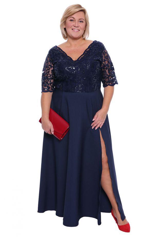 Wieczorowa granatowa suknia z cekinami