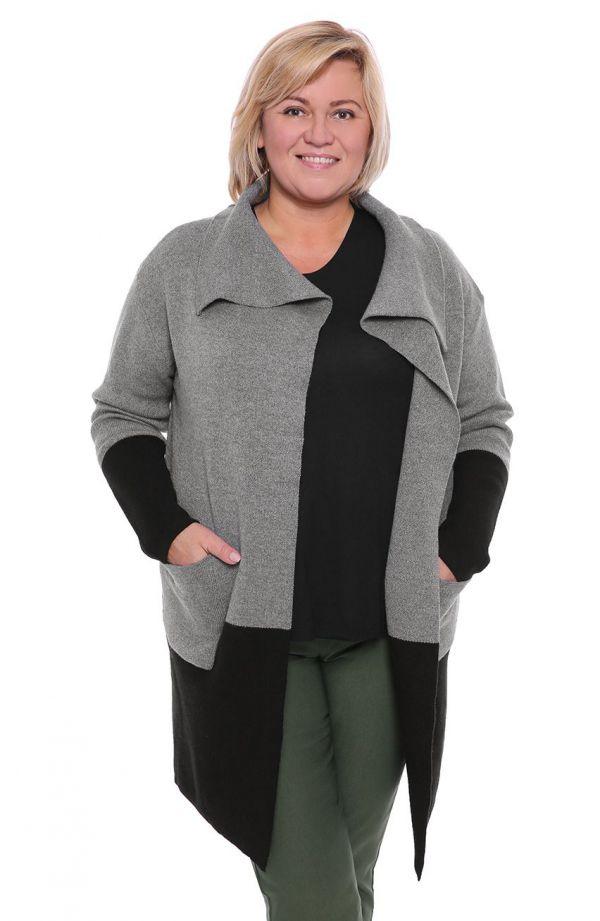 Szara narzutka sweter kardigan z kieszeniami