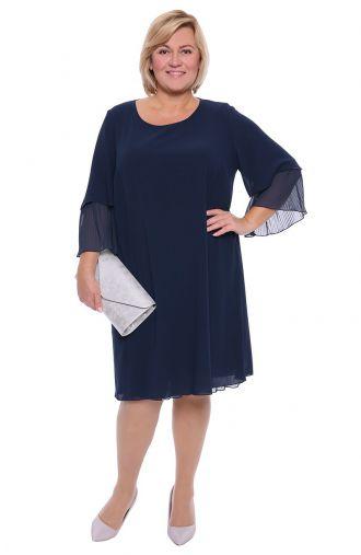 Granatowa sukienka z plisowanymi wstawkami