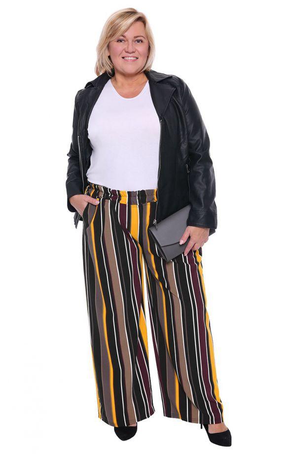 Spodnie na gumce w pionowe pasy żółty/beż