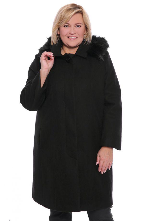 Elegancki wełniany płaszcz w kolorze czarnym
