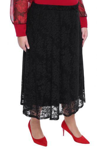 Czarna spódnica w kwiatowy motyw