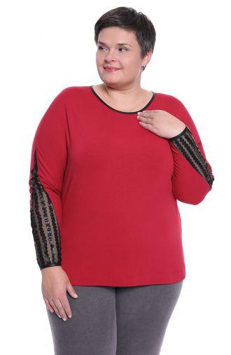 Bordowa bluzka ze skórkowymi wstawkami