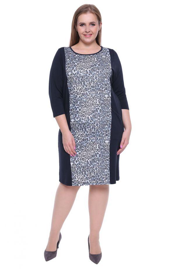 Granatowa sukienka z pasem w panterkę