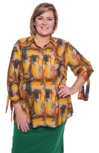 Musztardowa koszula w jesienne liście