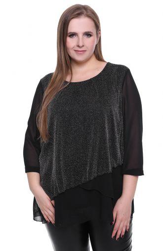 Czarna brokatowa bluzka z szyfonu