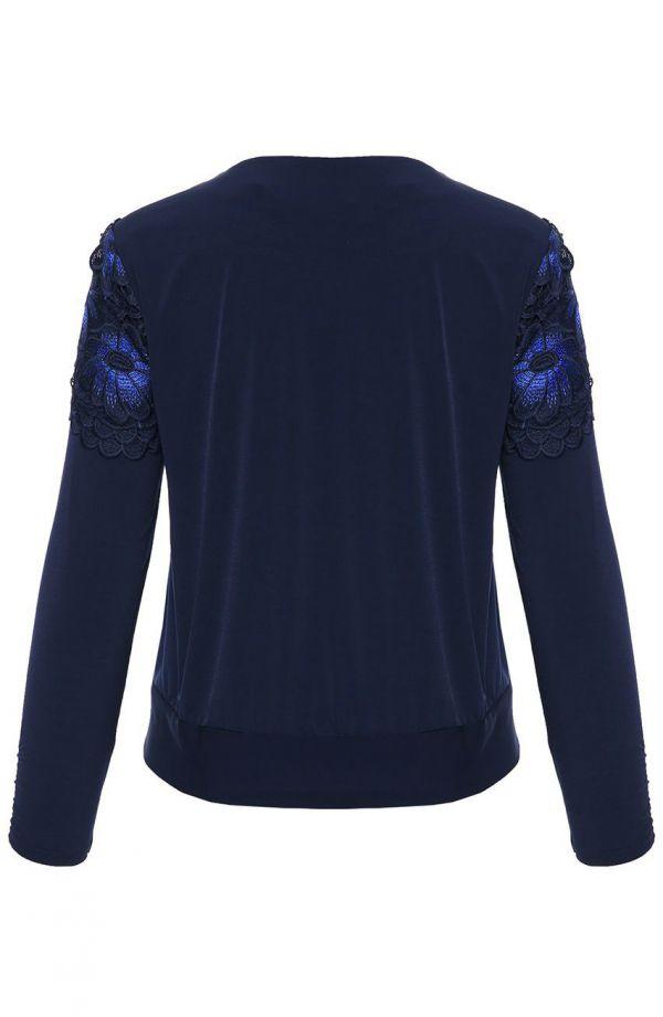 Granatowa bluzka z koronkowym przodem - moda xxl