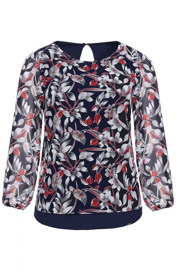 Granatowa bluzka w szare liście - moda xxl