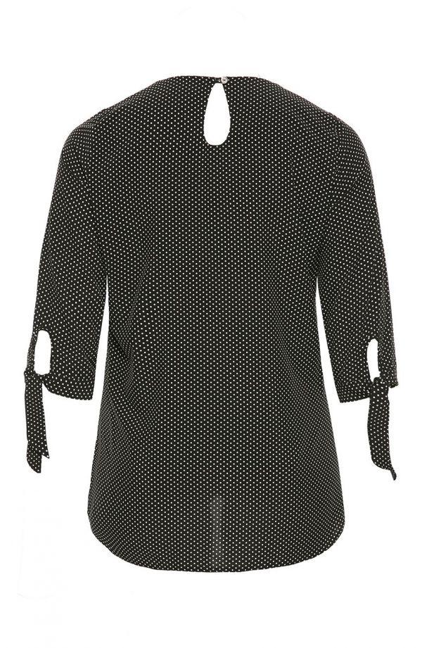 Bluzka z wiązanymi rękawkami mleczne groszki