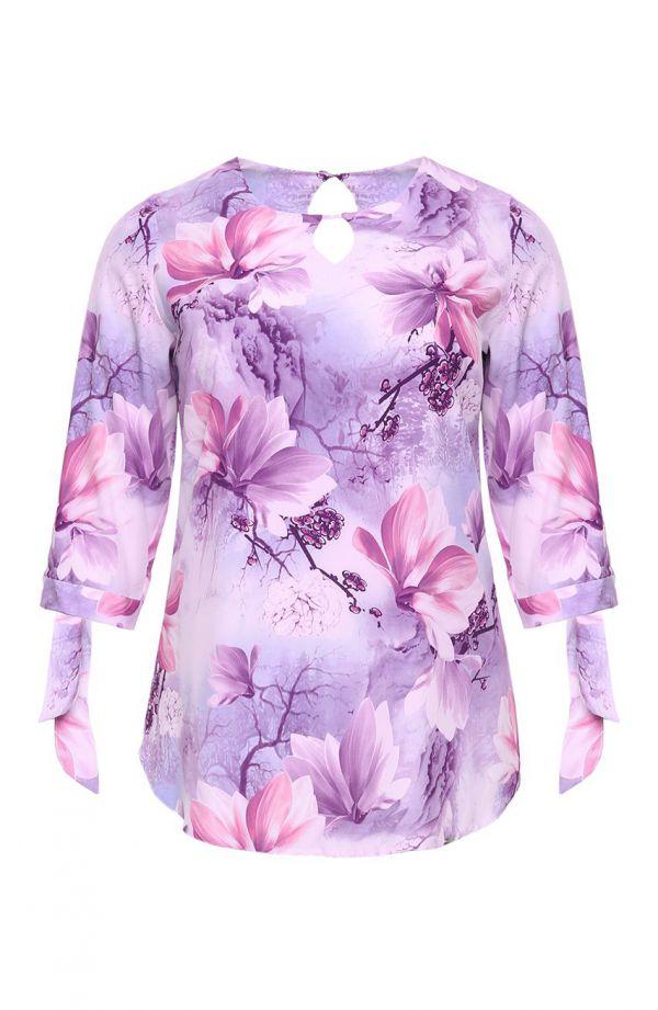 Bluzka z wiązanymi rękawkami liliowy ogród
