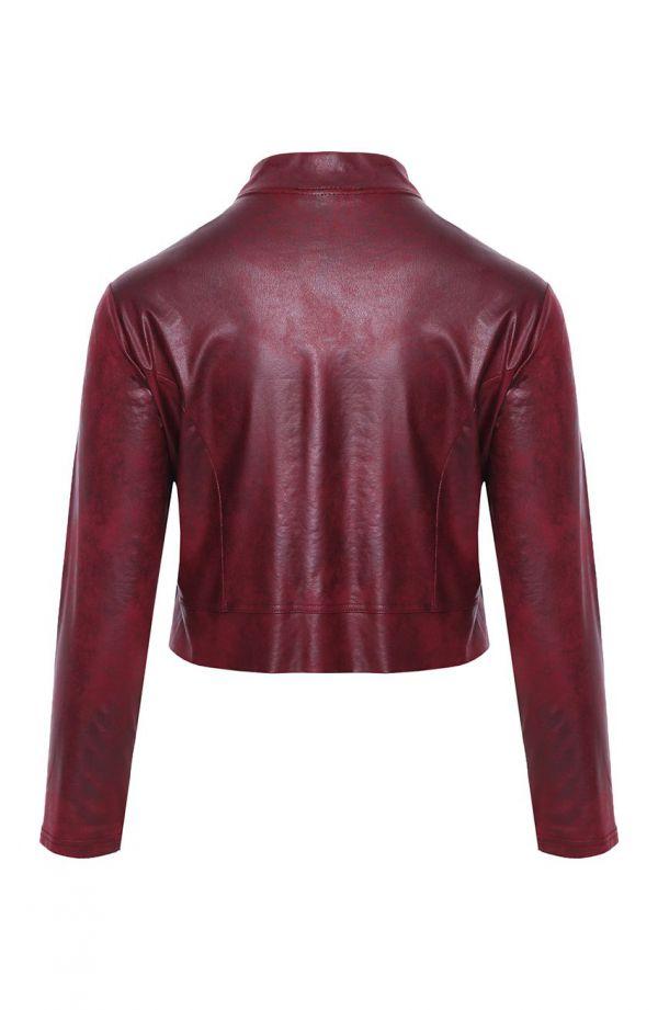 Krótki skórkowy żakiet w kolorze burgundu