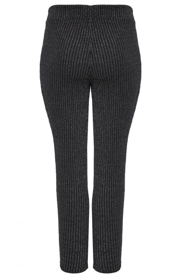 Czarne długie brokatowe legginsy