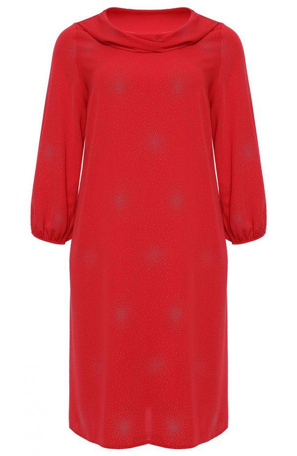 Czerwona sukienka w srebrne kropeczki