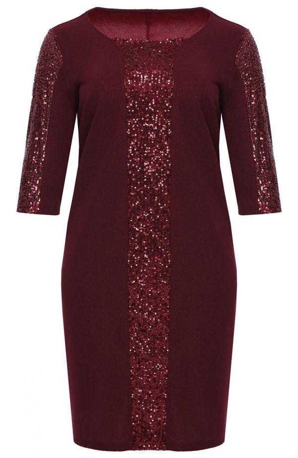 Bordowa sukienka z pionowym pasem w cekiny