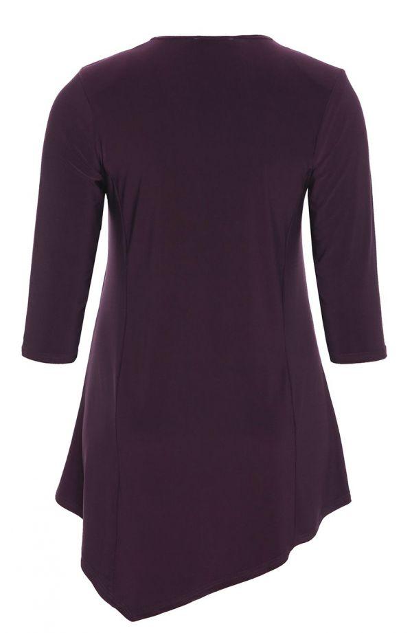 Tuniki damskie - asymetryczna tunika w kolorze śliwki