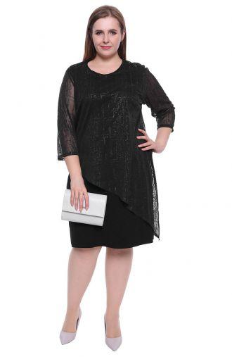 Asymetryczna czarna sukienka z blaskiem