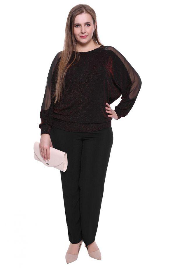 Czerwona brokatowa bluzka - moda xxl