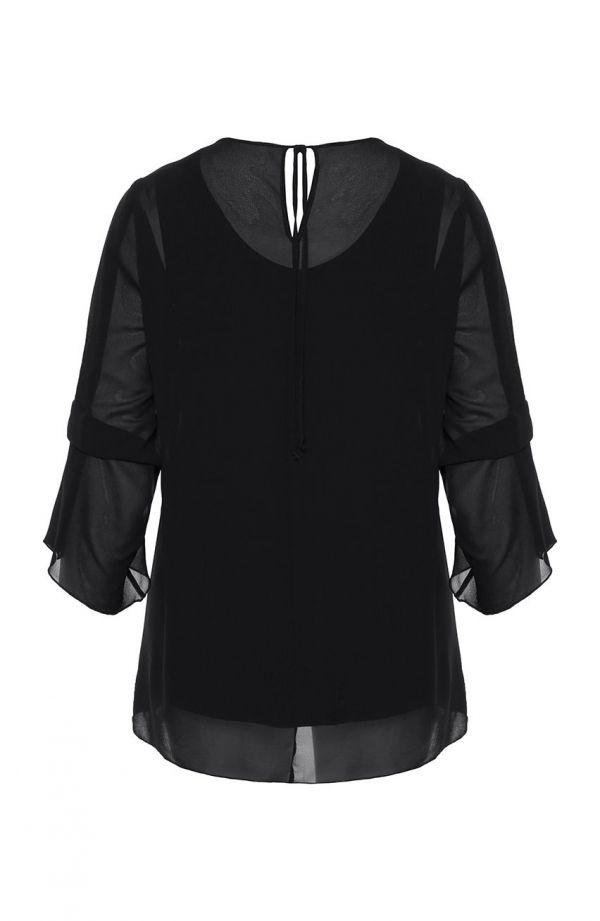 Czarna tunika z fantazyjnymi rękawami