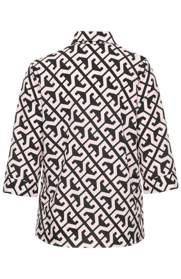 Beżowa koszula w geometryczny wzór