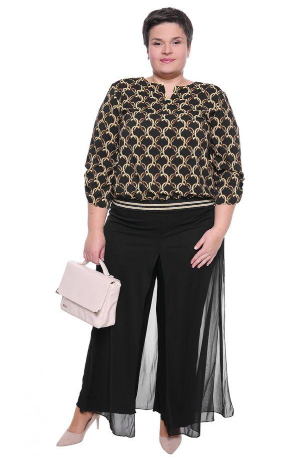 Czarna bluzka we wzór w złote łańcuchy - moda xxl