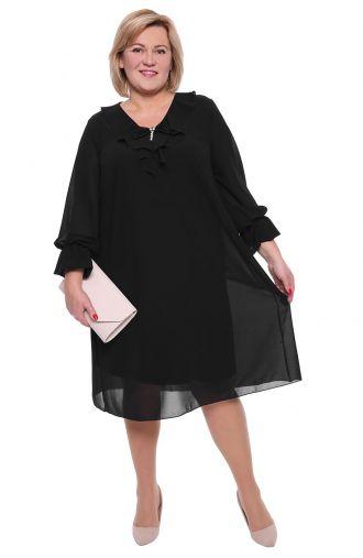 Czarna dwuwarstwowa sukienka z broszką