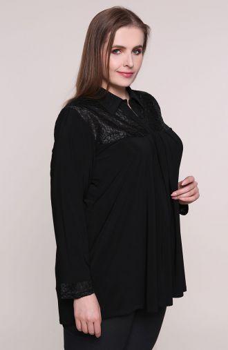 Elegancka czarna tunika z koronką w fale