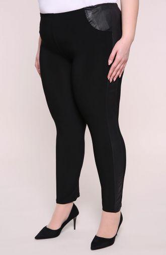 Czarne legginsy ze skórkowymi wstawkami