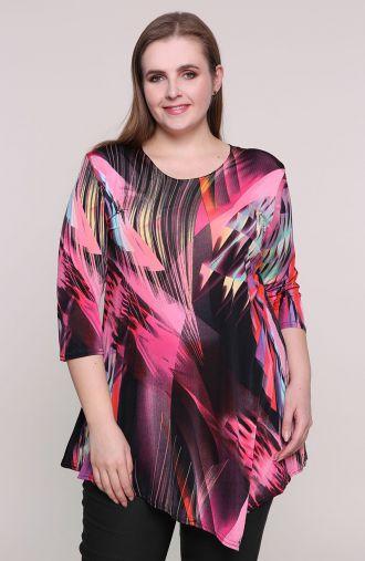 Asymetryczna różowa tunika barwy szczęścia