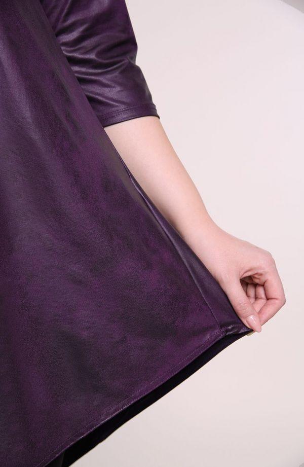 Asymetryczna skórkowa fioletowa tunika