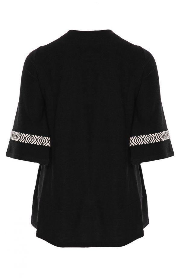 Czarna tunika z białym indiańskim akcentem