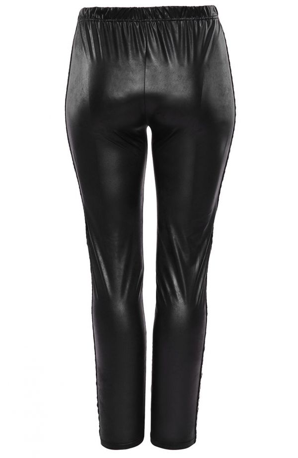 Czarne legginsy ze srebrnym lampasem