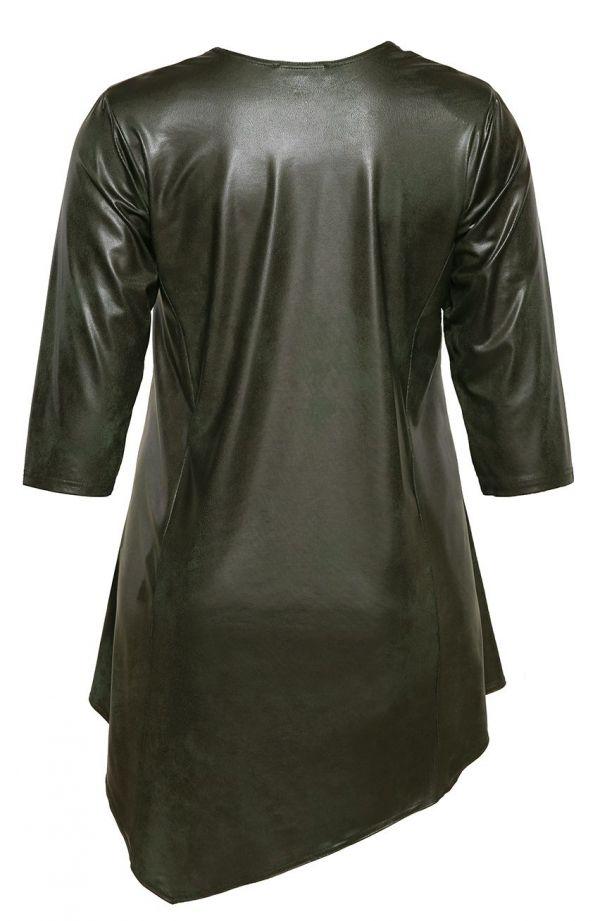 Tuniki damskie - asymetryczna skórkowa oliwkowa tunika