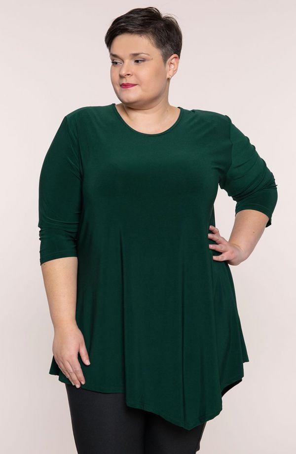 Asymetryczna tunika w kolorze ciemnej zieleni