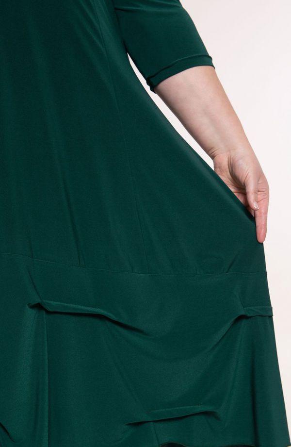 Malachitowa dłuższa sukienka z falbanką