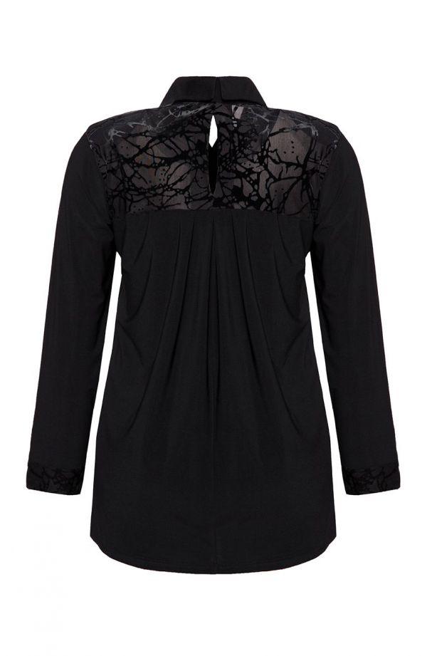 Elegancka czarna tunika z szyfonem tafla lodu