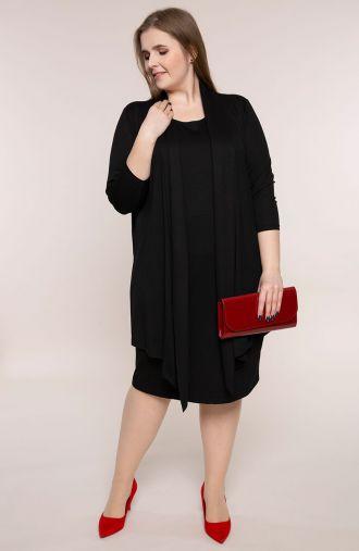Czarna dzianinowa sukienka z narzutką