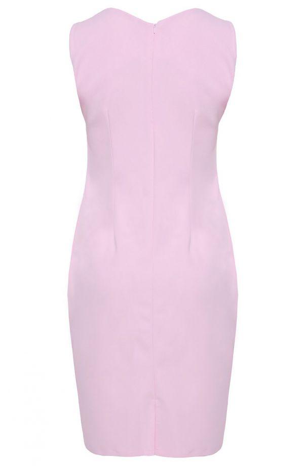 Sukienka z narzutką w kolorze pastelowego różu