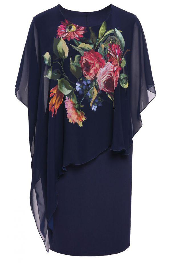 Sukiena z narzutką malowniczy pęk kwiatów