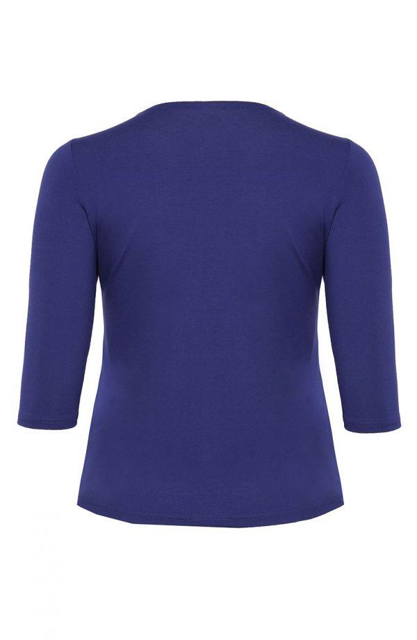 Chabrowa bluzka z ozdobnym dekoltem - moda xxl