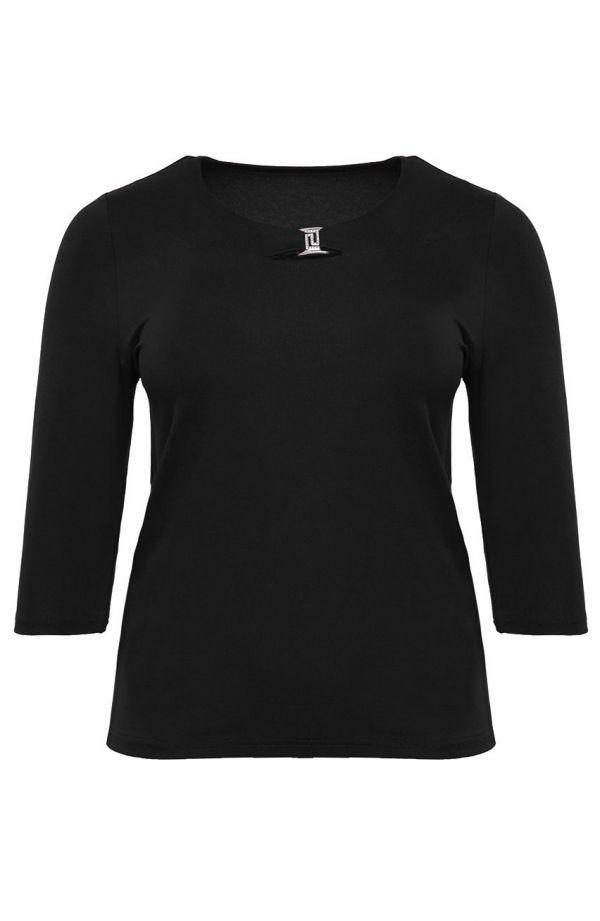 Czarna bluzka z ozdobnym dekoltem